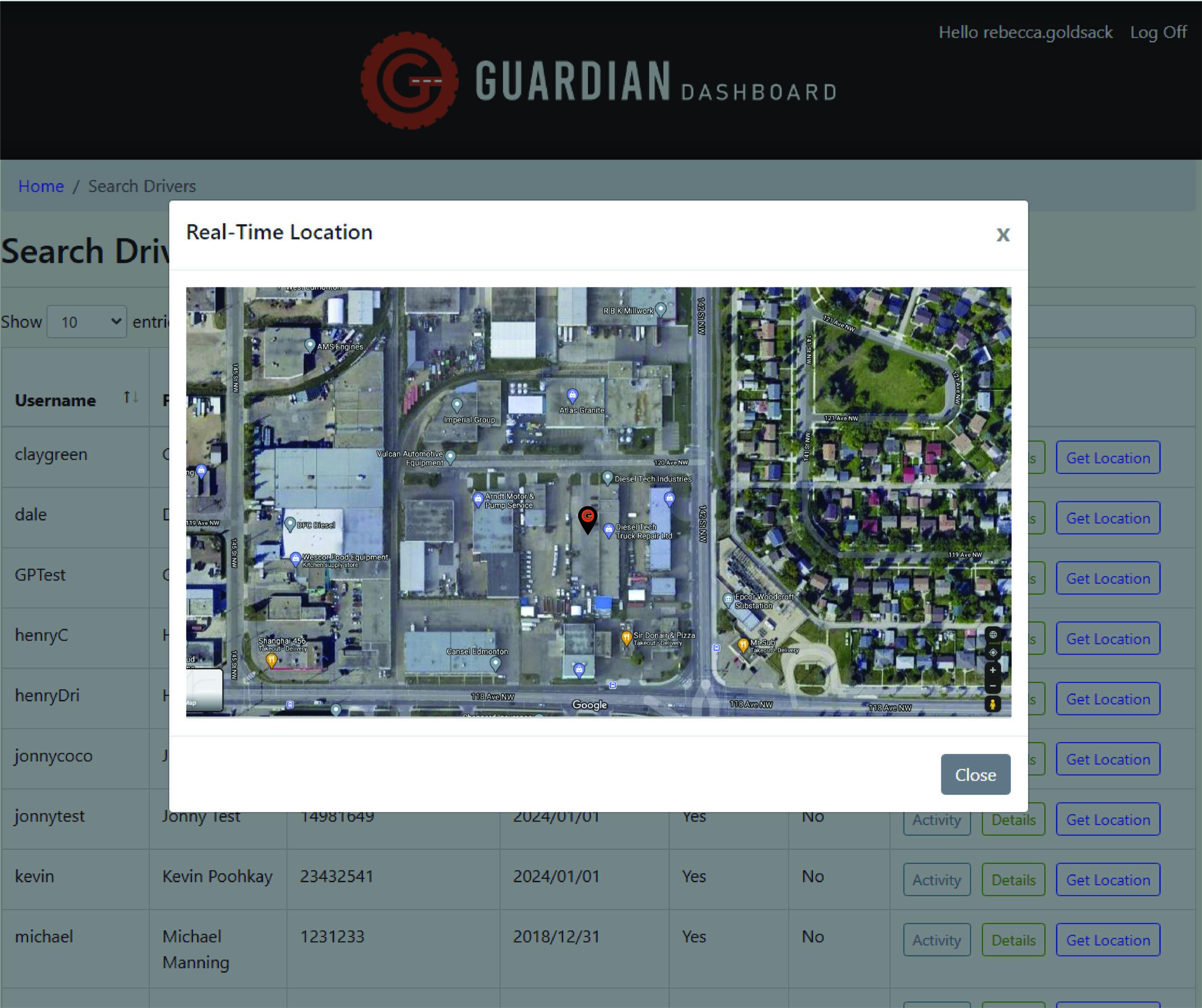 Guardian Elog GPS Tracking - Map